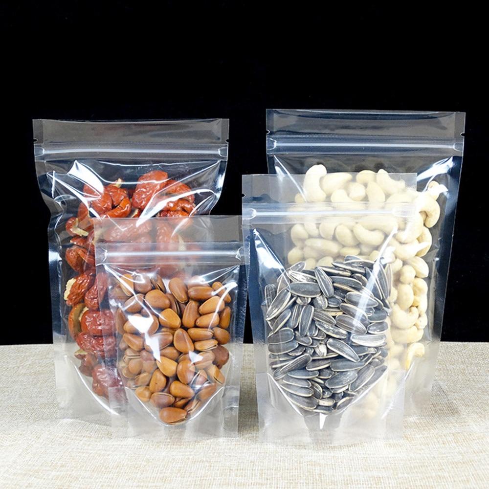 100pcs / lot Ziplock levántese el paquete plástico transparente - Organización y almacenamiento en la casa