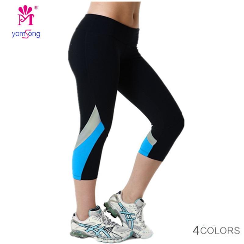 Yomsong 2015 High Waist Side Patchwork Capris Leggings Fitness Pants Stretched Leggings Brand Leggings for Women 175