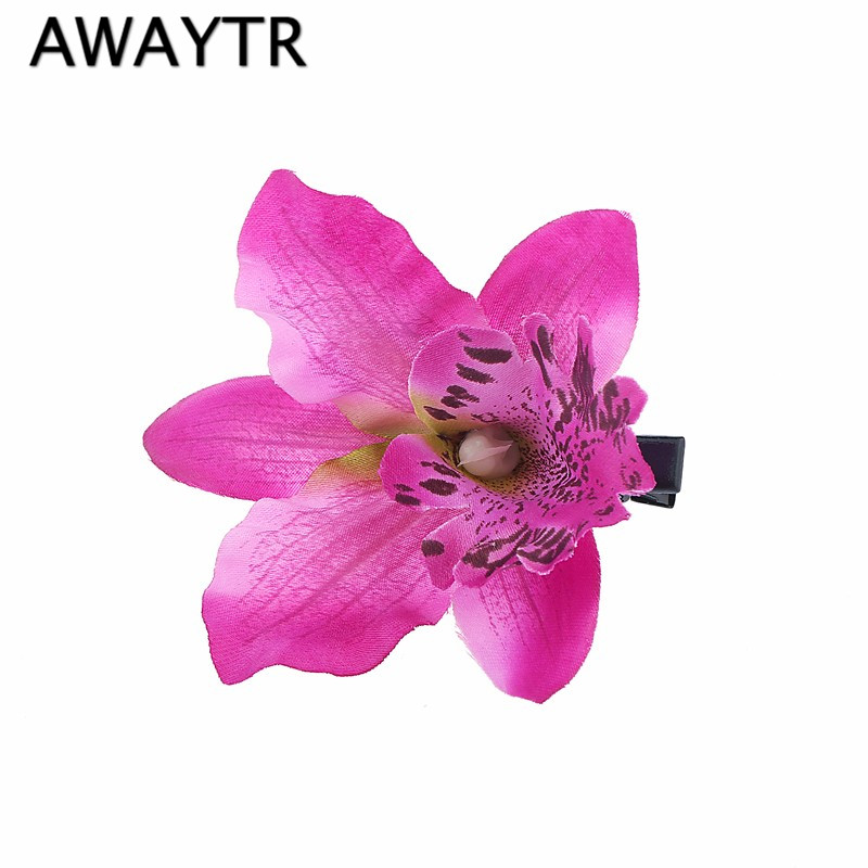 2017 Girl Bohemia Bridal Flower Orchid Leopard Hair Clip Hairpins Barrette Wedding Decoration Hair Accessories Beach Headwear women girl bohemia bridal peony flower hair clip hairpins barrette wedding decoration hair accessories beach headwear