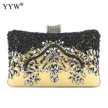 Gold Clutch Women Evening Party Purse And Handbag Elegant Rhinestone Beaded Wedding White Pochette Femme 2019 Prom Bag