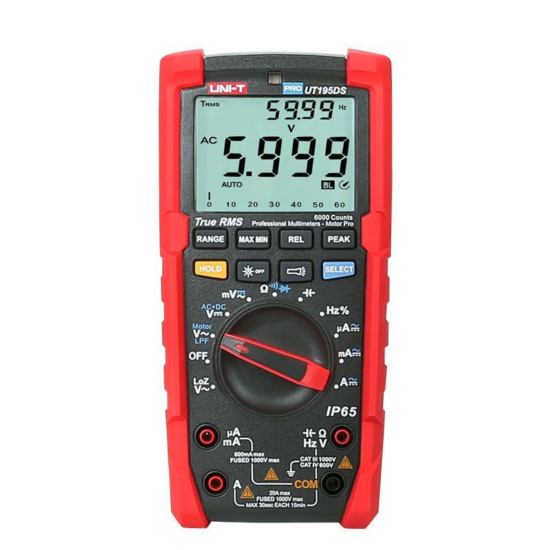 цена на UNI T UT195DS Industrial True RMS Digital Multimeter Analog bar AC DC DMM Volt Amp Ohm meter LPF/ LoZ Tester IP65/Dual dispaly