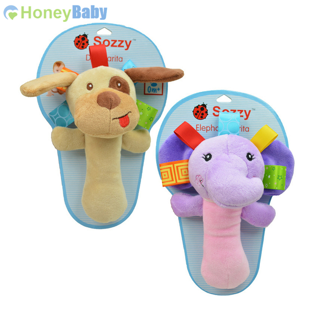 Baby Hand Bell With Rattle Tinkle Animals Doll Oyuncak 0-12 Months