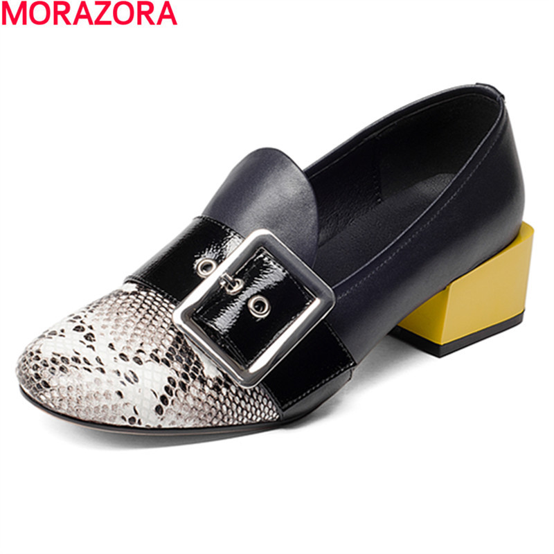 MORAZORA new Four seasons single buckle leisure shoes woman pumps fashion popular low heels shoes solid