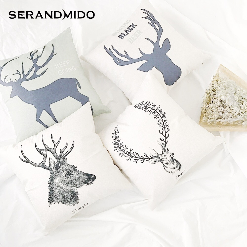 Nordic Style Deer Cushion Covers 45x45 High Quality Cotton Linen Moose Head  Sofa Throw Pillows Cover SMC1703T 90
