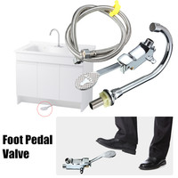 Bathroom Medical Laboratory Basin Faucet Tap Copper Foot Pedal Basin Mixer Water Faucet Taps With 1m Hose