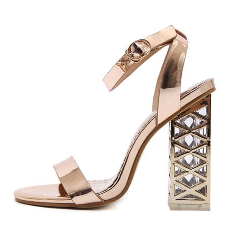 TTSDARCUPSNew Crystal Coarse heeled Sandals in Spring and Summer High heeled Open toed Women Sandals Plus Size 34 40 Sexy pumps in High Heels from Shoes