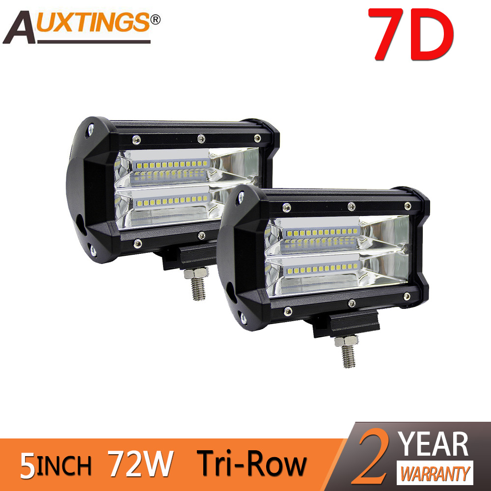 2Pcs 5inch 72W SUV ATV truck off road White Amber Car Dual Color Led Light Bar