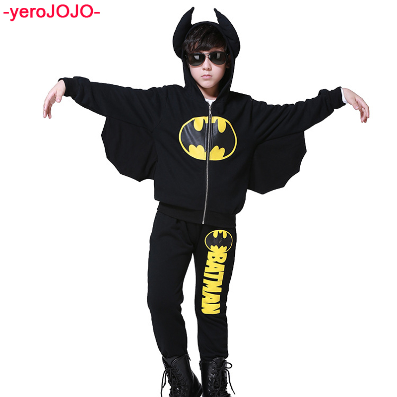 Boy Long-Sleeved Batman Zipper Suit Hooded Styling Kids Set Tracksuit Boys 3 4 5 6 7 8 Years New Baby Boys Cotton Clothing Suit jjlkids baby boys clothing set 100% cotton brand boy tracksuit long sleeve fashion 2015 new arrival children outfit