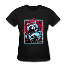 Women T-Shirt Rocket Avenger Crazy Tops Tees Pure Cotton Round Collar Simple Style Tee-Shirts Slin Fit Marvel Tshirt Femme