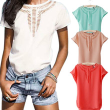 Women Casual Chiffon Blouse Short Sleeve Shirt Summer Carved Hollow Round Neck Blouse Tops -30