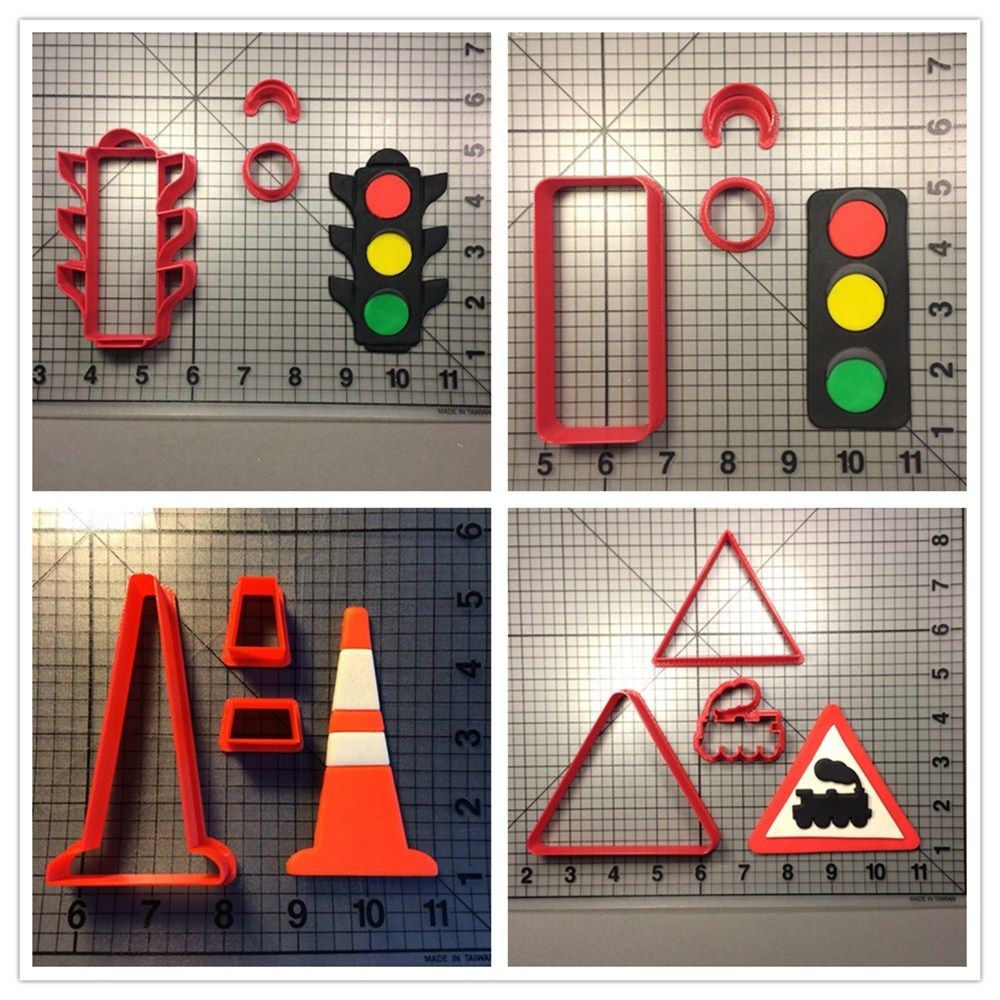 Hot sales Traffic Cone Light Sign Cookie Cutter Fondant Cake Decorating Tools Custom Made 3D Printed Cookie Cutter Set for Cake