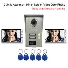 Роскошные 2 единицы квартир 9 «ЖК-дисплей Экран алюминиевый сплав видео дверь домофон комплект Водонепроницаемый Пылезащитный + 5 шт. RFID брелки
