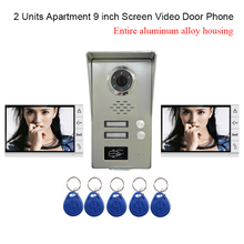 LUXURY 2 Units Apartments 9″ LCD Screen Aluminium Alloy Video Door Phone Intercom Kit Waterproof Dustproof+5 pcs RFID Keyfobs