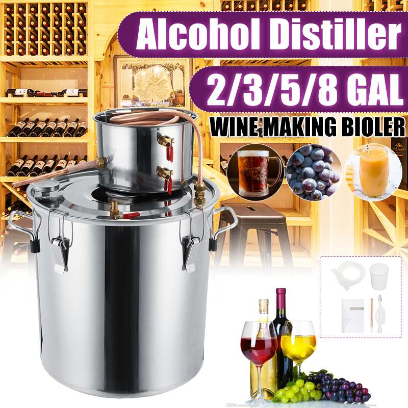 2/3/5/8GAL Distiller Moonshine Alcohol Distiller Stainless Steel DIY Home Water Wine Essential Oil Brewing Kit