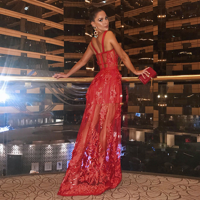 Elegant Red Long Lace Dress New Arrival Fashion Show Spaghetti Strap Bodycon Maxi Christmas Party Vestido Casual Dress Wholesale