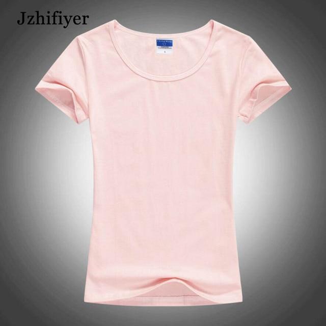 female t shirt short Sleeve o-neck t shirt lycra combed cotton blank t-shirt women solid plain t-shirt crop top slim tops