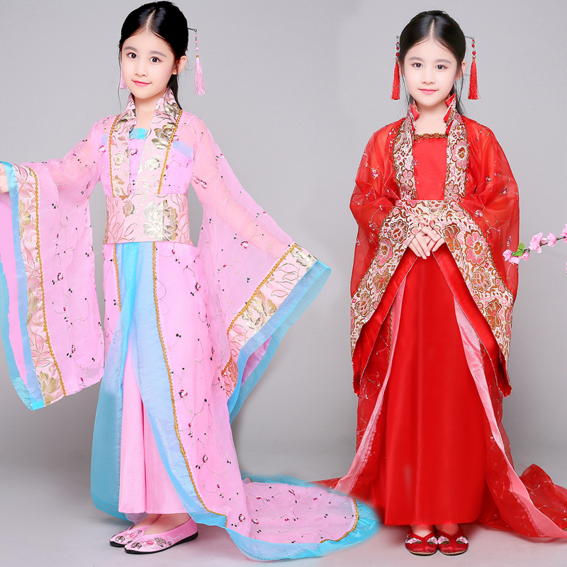 ancient chinese traditional opera kids dynasty ming tang han hanfu dress child costume folk dance children girl clothing cosplay
