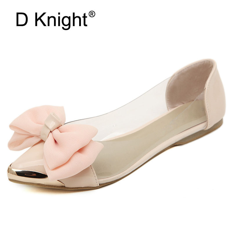 Big Bow Pointed Toe Slip-On Kvinner Ballett Flats Mote Metall Toe Kvinner Flat Sko Ballerinas Ladies Casual Flats Størrelse 35-40 Pink