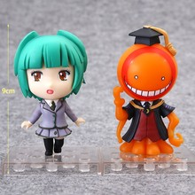 2 stks/partij Anime Assassination Classroom Figuur speelgoed Kayano Kaede Glimlach Q versie PVC 1/10 schaal base collectible model toys(China)