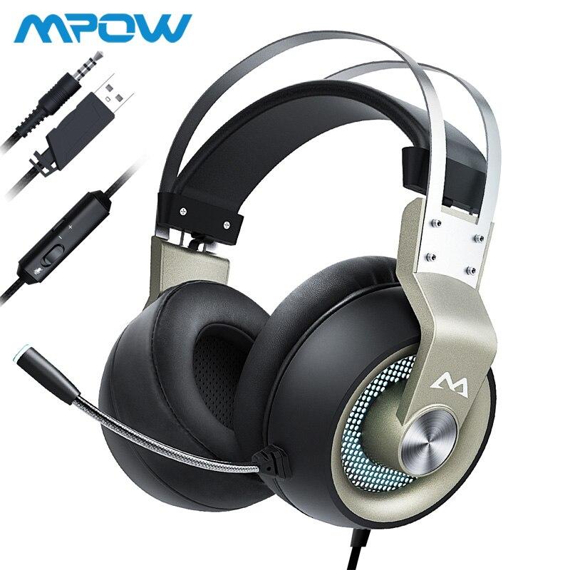 Mpow eg3 pro jogos fones de ouvido para ipad ps4 computador portátil tablet telefones 3.5mm jax & usb cabo suporte volume/mic controle 50mm driver