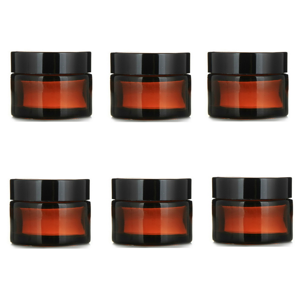 6 X 1 Oz Amber Straight Sided Glass Jar W/ Black Plastic Cap Lid Inner Liner For Salves Face Cream Homemade Lotion Cosmetics 30g