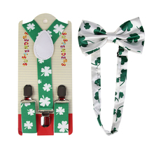 2019 New Fashion  Adjustable Green Four Leaf Clover Print Suspender And Bow Ties Sets For Kids Boys