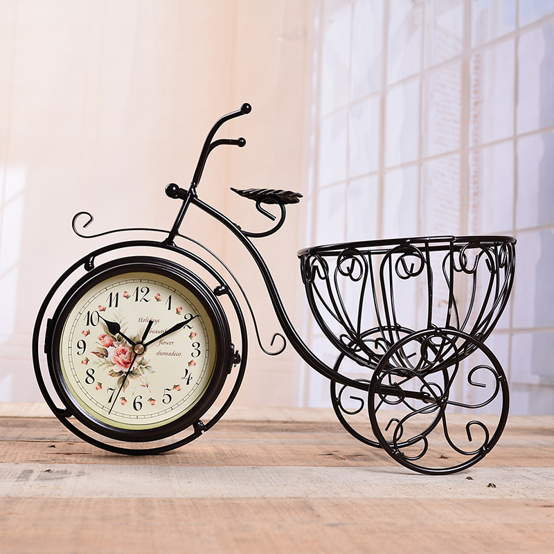 TUDA Free Shipping 12inch Large Table Clock Antique Creative Bicycle Metal Handicraft Table Clock Double Side Mute Table Clock