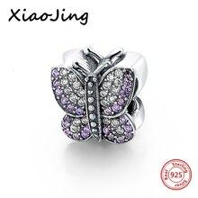 hot deal buy 925 sterling silver purple butterfly cz stone beads fit original european charm bracelet beads diy jewelry making for women gift