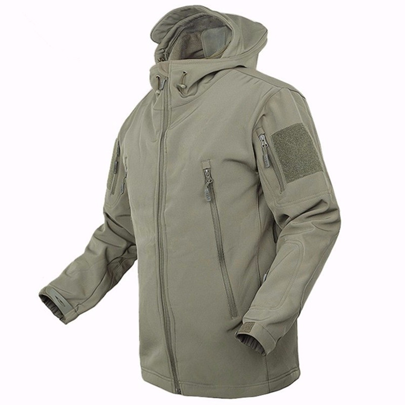 Army Green Tactical Jacket Military Uniform Coats Male Soft Shell Casual Hooded Jacket Men Thermal army