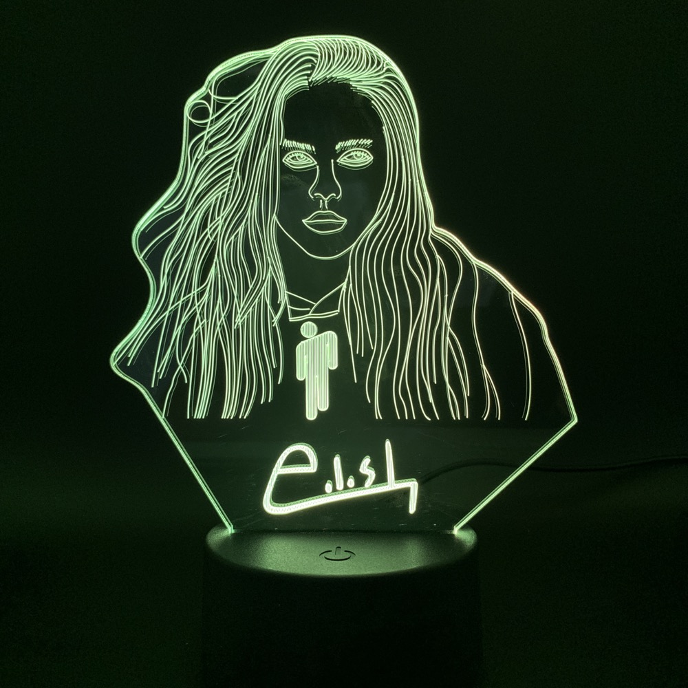 Novelty Light Billie Eilish Figure Bedroom Decor Bedside Lamp Fans Gift Nightlight Celebrity 3D Illusion Led Night Light Lamp