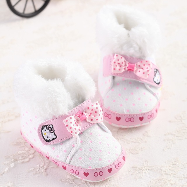159daa28f Latest Bebe Snowfield Booties Keep Warm Thick Cotton Polka Dot Boots Hello  Kitty First Walker Shoes Baby Girls Winter Snow Booty