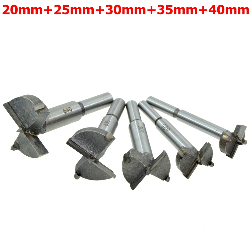 5PCS/Set (20mm,25mm,30mm,35mm,40mm) Cutting Diameter Hinge Boring Drill Bit Woodworking Hole Saw Wood Cutter Silver Tone 38mm 100mm diameter hinge boring bit woodworking silver tone round shank wood drilling forstner carbide tip cutting wood tool