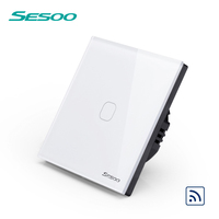 SESOO Touch Switch 1 Gang 1 Way White Wall Light Touch Screen Switch Crystal Glass Switch