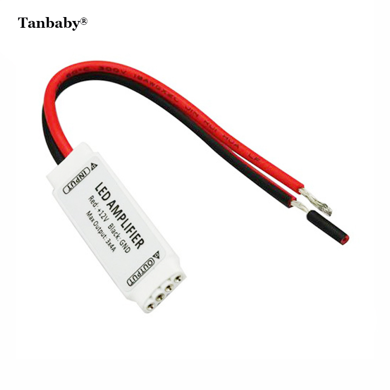 Tanbaby 12V Mini RGB LED Amplifier for 5050 3528 RGB LED strip light signal amplifier 3*4A 144W led strip accessory