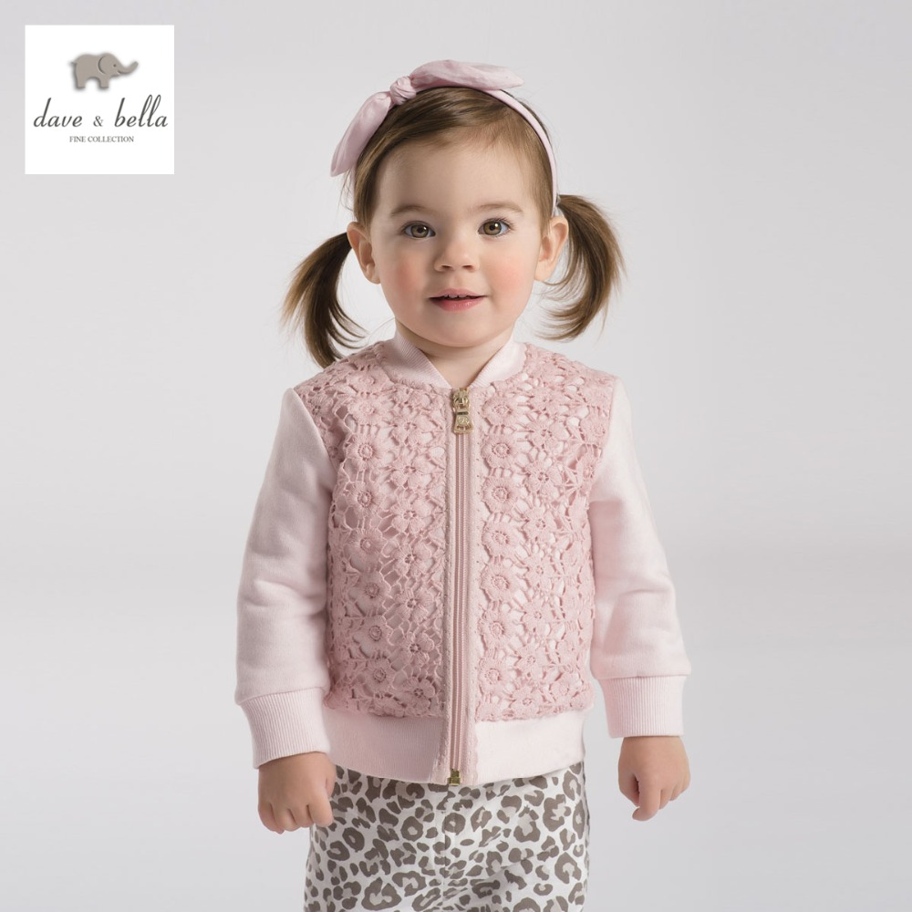 DB2078 dave bella spring autumn baby girl lace coat toddle clothes infant outerwear baby cotton tops kid coat girls pink coat