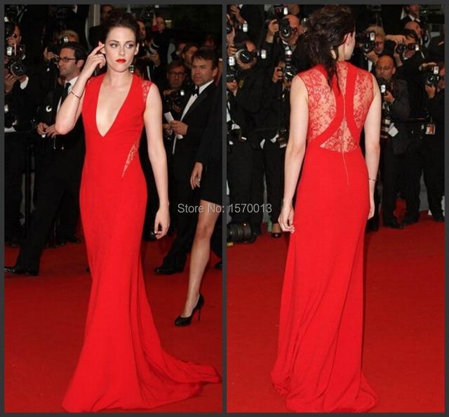 Sexy Deep V Neck Red Kristen Stewart Celebrity Lace Dresses Elegant Long  Evening Dresses vestido de 4f8a8e5e794e