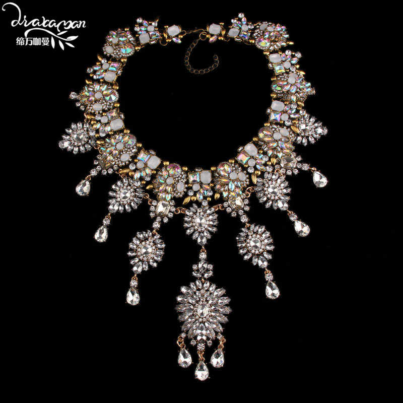 Dvacaman Brand Hotsale Handmade Crystal Choker Necklace Women Fashion Flower Statement Necklace Engagement Show Party Jewelry O5