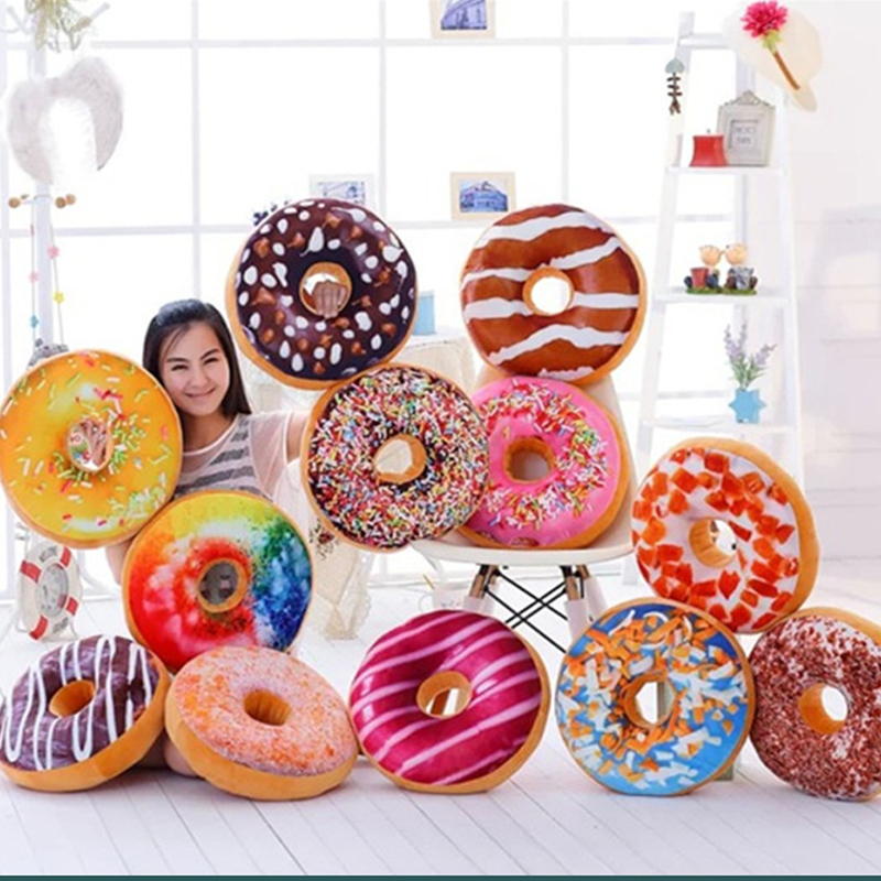 40cm Funny Chocolate Donut Sofa Seat Cushion Cases Christmas Donuts Pillowcase Xmas Kid Present Toy Gifts Car Mats No Filling