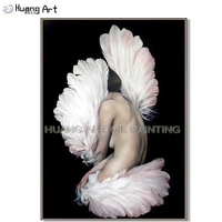 Artist Pure Hand painted High Quality Sexy Nude Women Body with Feather Oil Painting on Canvas Beautiful Portrait Painting Oil