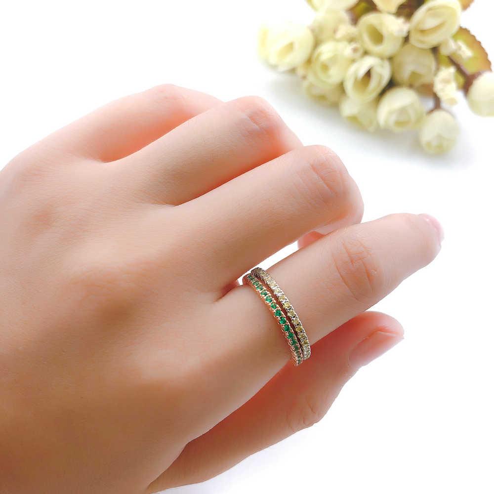ZHOUYANG งานแต่งงานแหวน Man กระชับคลาสสิก Multicolor MINI Cubic Zirconia Rose Gold สีของขวัญแฟชั่นเครื่องประดับ R251