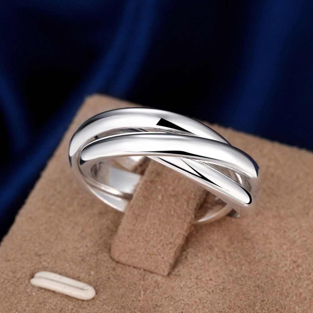 Women's silver rings, fashion Silver wedding engagement Jewelry Three layer size 5-10 Unisex ring for men R167