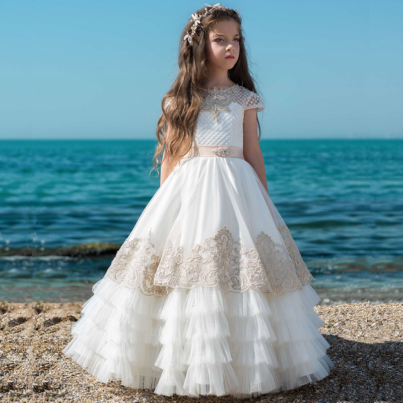 Customized   Flower     Girl     Dress   Tired Belt Applique Vestido De Novia Communion   Dress     Girls   Christmas   dress   Size 2-16Y