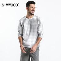 SIMWOOD Brand Men Long Sleeve T Shirts 2018 New Fashion Slim Fit 100% Pure Cotton Striped Top Male T Shirt Plus Size 180218