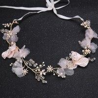 New Fashion Wedding Hair Jewelry Gold Tiara Crown Headbands Crystal Pearl Women Accessories Flower Headpiece Hair Ornament Gift