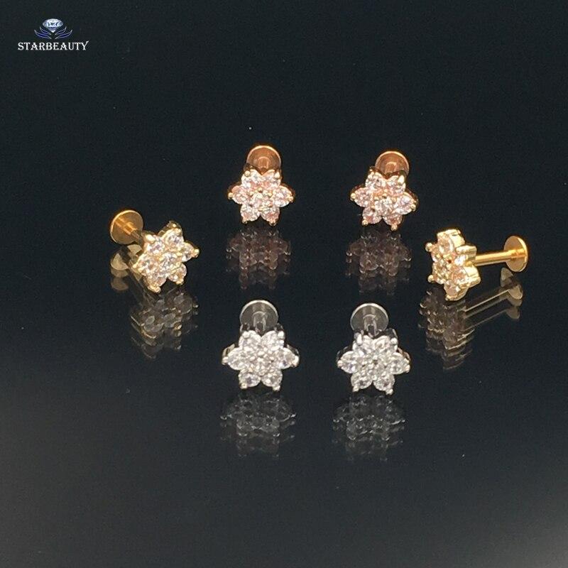 Hot 1.2*6mm Classic Flower Zircon CZ Gem Labret Lip Bar Ring Piercing Ear Cartilage Tragus Sexy Girl Jewelry 316l Steel