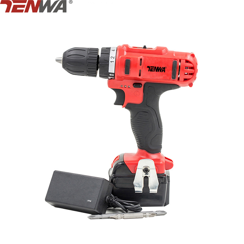 TENWA 21V Lithium Battery Cordless Drill Power Tool Electric Drill 2 Speed Cordless Screwdriver Set Household Power Tools wosai 20v cordless electric hand drill lithium battery electric drill cordless 2 speed drill electric screwdriver power tools