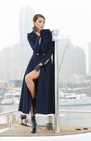 New style big hem lapel black dark blue women's winter wool coats 2019
