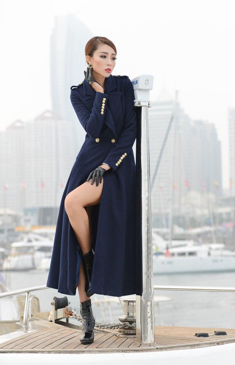 Nuovo stile big hem risvolto nero blu scuro delle donne inverno cappotti di lana