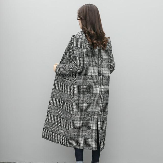 Women Wool Coat Plaid Women Loose Long Single Breasted Woolen Coats Spring Coat Woolen Overcoat Autumn Wool Jackets Trench WJ54 4