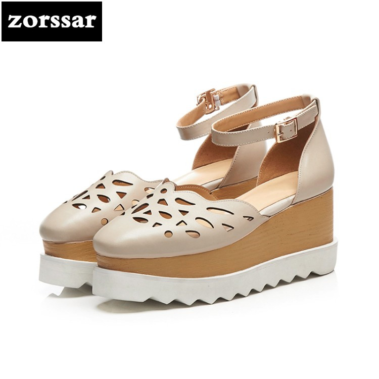 {Zorssar} 2018 New arrival Genuine Leather summer womens shoes heels Wedges High heels sandals women Platform shoes big size 42 lenkisen genuine leather big size wedges summer shoes gladiator super high heels straw platform sweet style women sandals l45